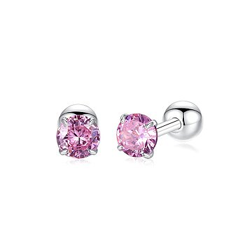 BELAWANG Örhängen äkta silver 925, round stud, pink