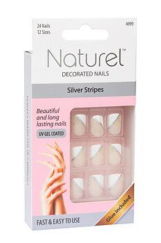 NATUREL Lösnaglar, Silver Stripes