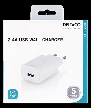 Mobilladdare  till 5 V USB, 2,4 A