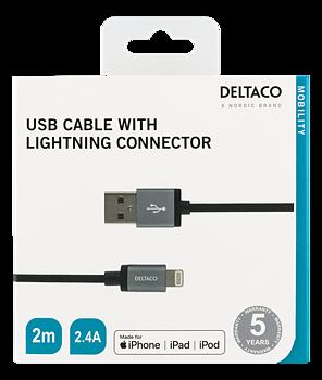 Laddningskabel USB Lightning Förstärkt 2m