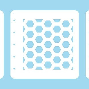"Layered combi Set of 3 stencils ""Honeycomb"" A6"