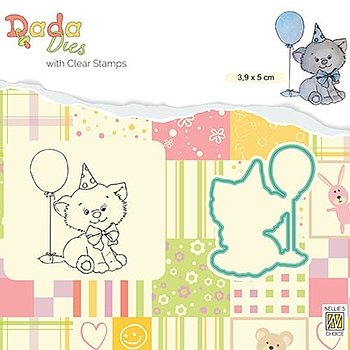 "Die with clear stamps set: animals ""Birthday Kitten"""