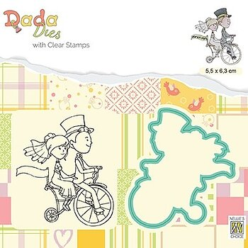 "Die & clear stamp: on Honeymoon ""Love on a bike"""