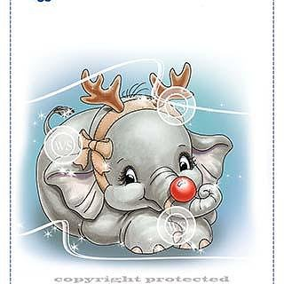 Ellie the Christmas Tree Rubber Cling Stamp