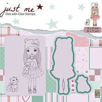 "Just Me dies + Clear stamp ""Girl with Cat"""