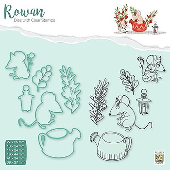 "Rowan Dies&clear stamps sets ""Christmas mouse-2"" ""Coffee-pot"""