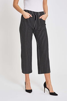 Donna Loose Stripes Crop 99222 Black