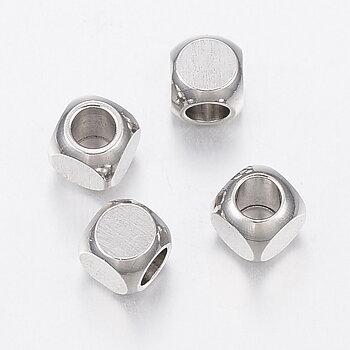 Mini kub rostfritt stål 10st metallpärla