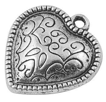 Hjärta  berlock antiksilver