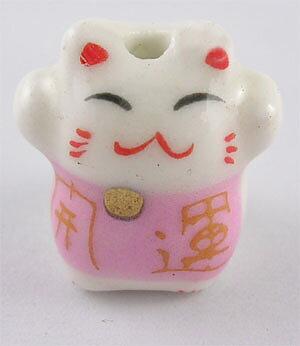 Lucky cat rosa porslinspärla 2 st
