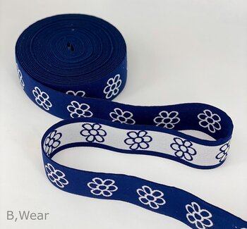 40 mm Marinblå med blommor