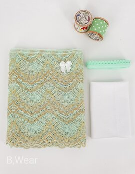Lace kit for panties  - Mintgreen with gold