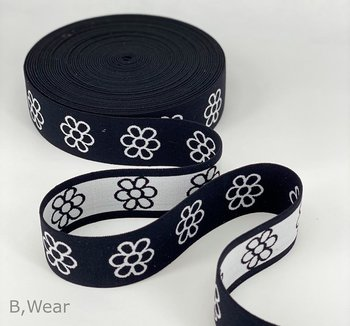 40 mm wide Black with flowers