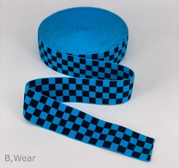 Checkered - Turquoise/black - 40 mm