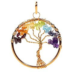 Pendant chakre tree brass copper colour
