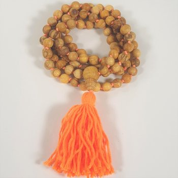 Palo Santo mala with Guru bead + knots -- 0.9 cm