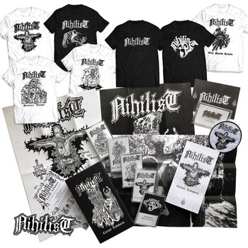 NIHILIST - CASSETTE BOX, CARNAL LEFTOVERS + 7 T-SHIRTS (ULTIMATE BUNDLE)