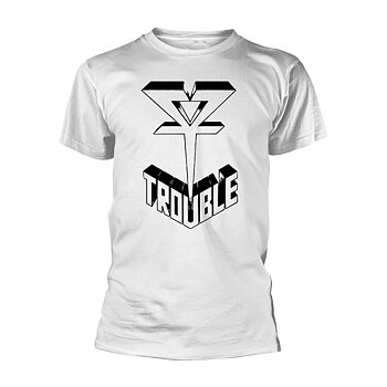 TROUBLE - T-SHIRT, LOGO 1 (WHITE)