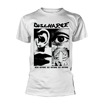 DISCHARGE - T-SHIRT, HEAR NOTHING (WHITE)