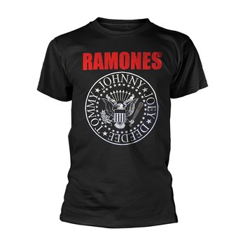 RAMONES, THE - T-SHIRT, RED TEXT SEAL LOGO