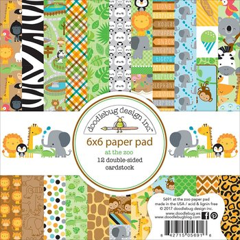 "Doodlebug Double-Sided Paper Pad 6""X6"" -At The Zoo"