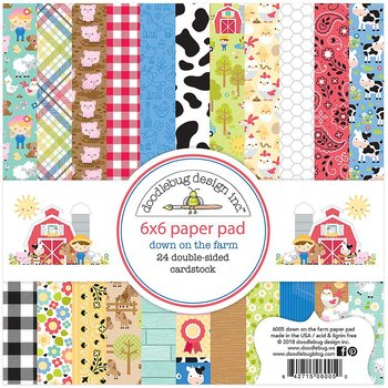 "Doodlebug Double-Sided Paper Pad 6""X6"" -Down On The Farm"