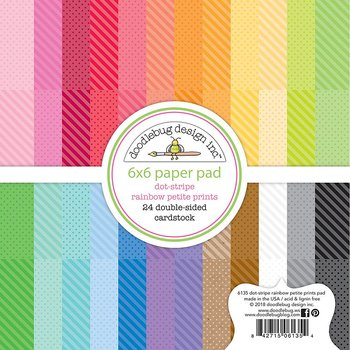 "Doodlebug Petite Prints  Paper Pad 6""X6"" Dot-Stripe Rainbow, 24 Designs/1 Each"