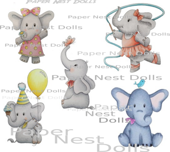 PAPER NEST DOLLS-Elephants