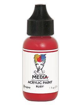 RANGER Dina Wakley Media Acrylic Paint Ruby , 1oz 29 ML