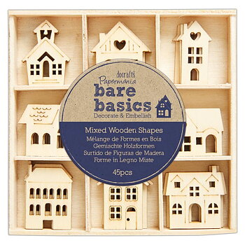 DOCRAFT -Papermania Bare Basics Wooden Shapes Houses (45pcs)