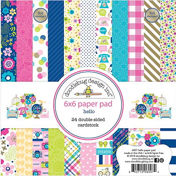 "Doodlebug Double-Sided Paper Pad 6""X6"" HELLO"