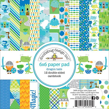 "Doodlebug Double-Sided Paper Pad 6""X6""Dragon Tails"