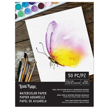 "Brea Reese -WATERCOLOR PAPER PAD 9""X12""-50 Sheets, White"