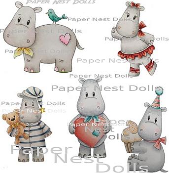 PAPER NEST DOLLS-Hippos