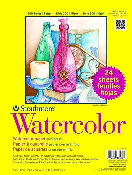 STRATHMORE -Series 300 Watercolor Paper Sheets 9x12 in. 140lb. 24 sheets