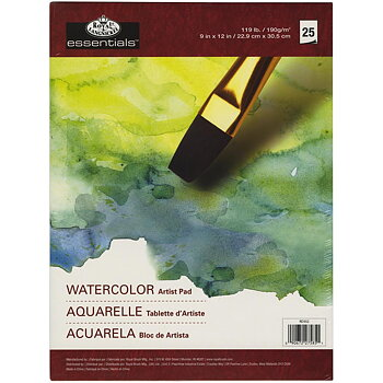 "ROYAL LANGNICKEL-essentials™ Watercolor Artist Paper Pad 9""X12"" 25 PCS"