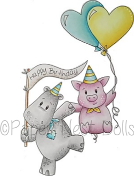 PAPER NEST DOLLS-Happy Birthday Hippo and Pig