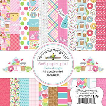 "Doodlebug Double-Sided Paper Pad 6""X6""   -Cream & Sugar"