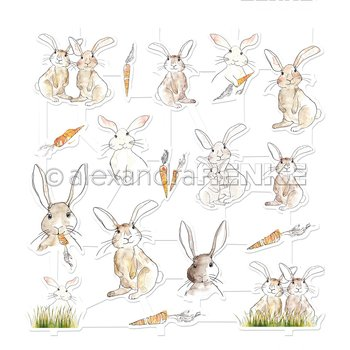 ALEXANDRA RENKE -aRt-Figurine 'Rabbit with carrot'  Die cut