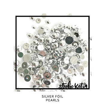 STUDIO KATIA-SILVER FOIL PEARLS