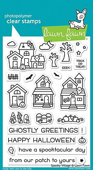 LAWN FAWN-spooky village  STAMP & DIE SET