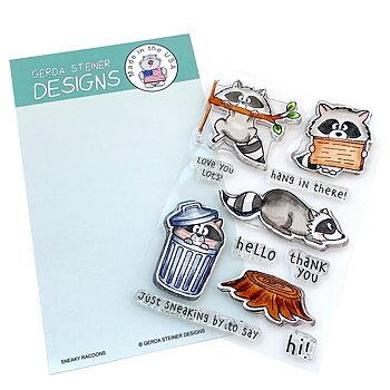GERDA STEINER DESIGNS-Sneaky Racoons 4x6 Clear Stamp & Die  Set