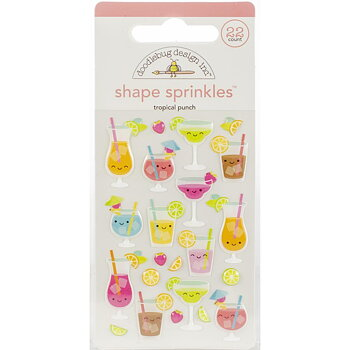 DOODLEBUGSprinkles Adhesive Glossy Enamel Shapes-Tropical Punch