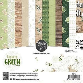 MODASCRAP - PAPER PACK FOREVER GREEN 6X6""