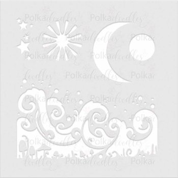 Polkadoodles-Magic Moon 6x6 Inch Stencil
