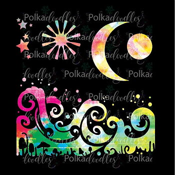 Polkadoodles -Magic Moon 6x6 Inch Stencil