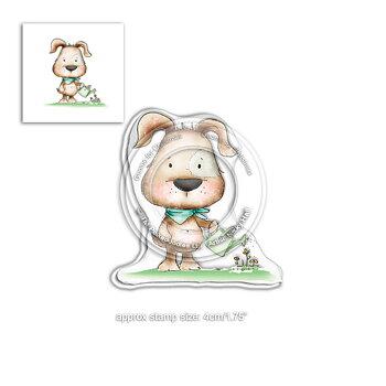 Polkadoodles -Fuzzypuff Scruff the dog Gardening