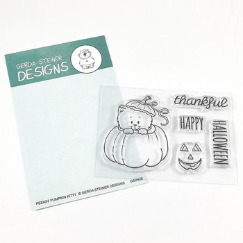 GERDA STEINER DESIGNS-Peekin' Pumpkin Kitty 3x4 Clear Stamp Set