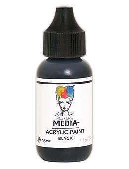 RANGER Dina Wakley Media Acrylic Paint Black, 1oz