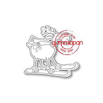 GUMMIAPAN -Skiing Reindeer stamp & die set